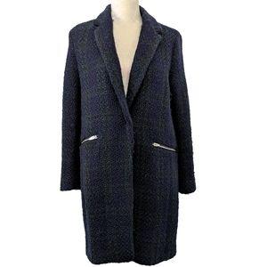Zara Blue Boyfriend Boucle Wool Long Line Coat M